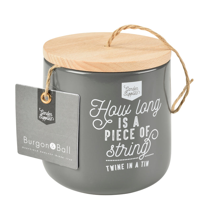 Burgon & Ball charcoal twine tin - Peach Perfect