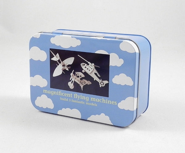Flying machine kit in a tin