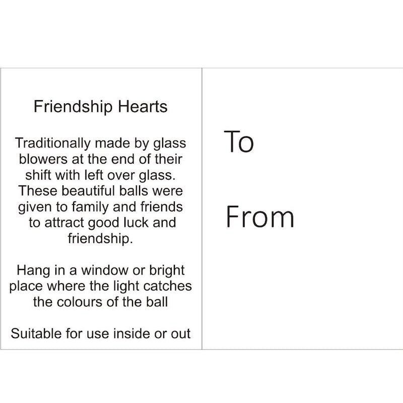 Gift tag explaining the origins and sentiments of friendship balls.