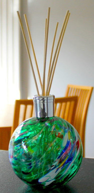 Hand blown Glass diffusers - Emerald Green - Peach Perfect