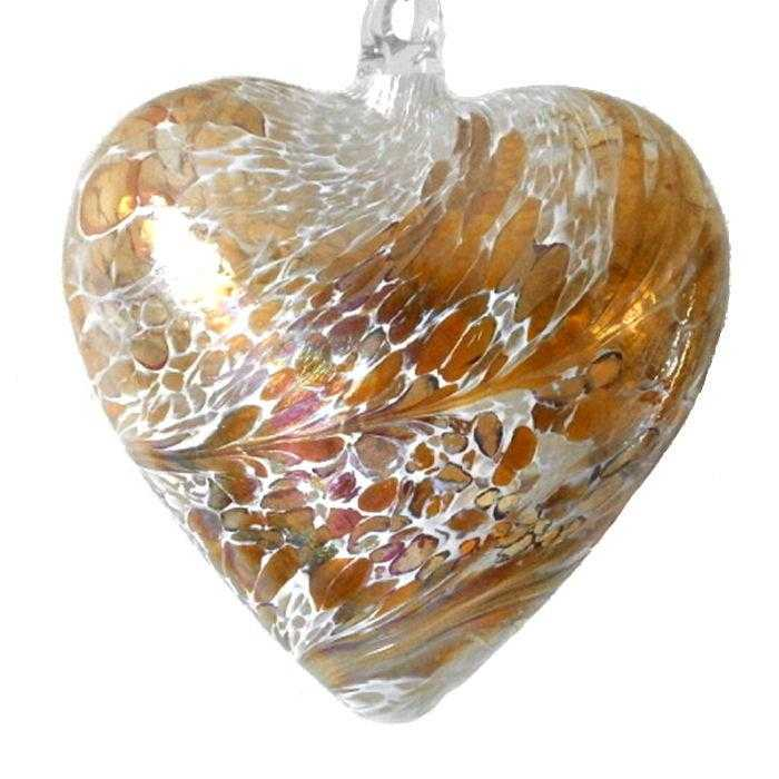 Art Glass Heart - Gold - Peach Perfect