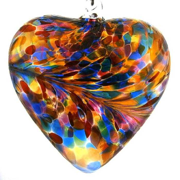 Art Glass Hearts - Multi colour - Peach Perfect
