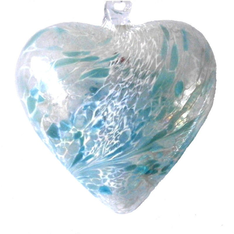 Art Glass Heart - pastel blue -  Peach Perfect