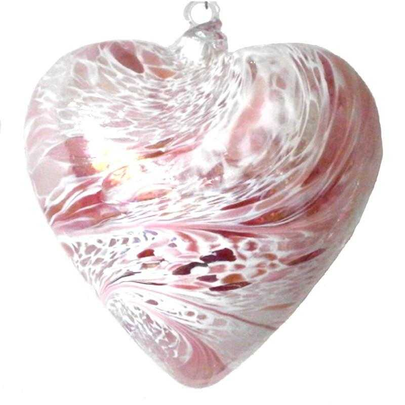Art Glass Heart - pink - Peach Perfect