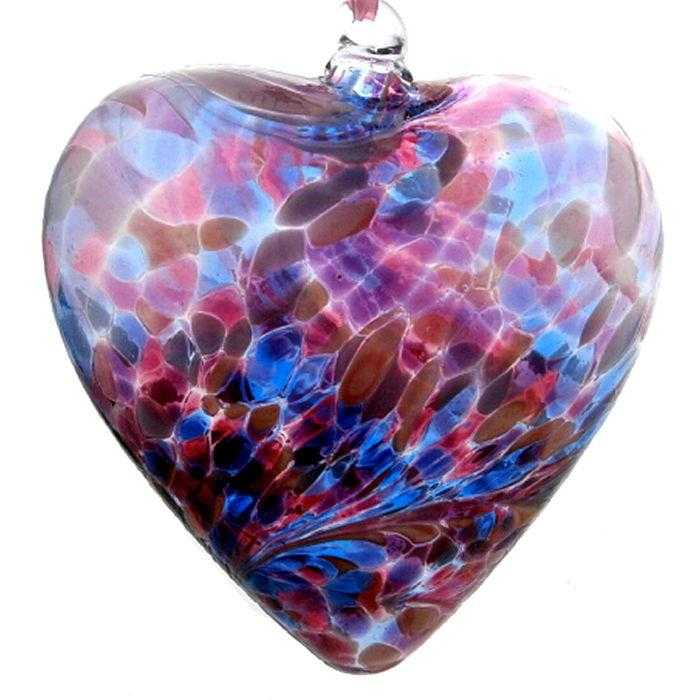 Art Glass Heart - pink/blue - Peach Perfect
