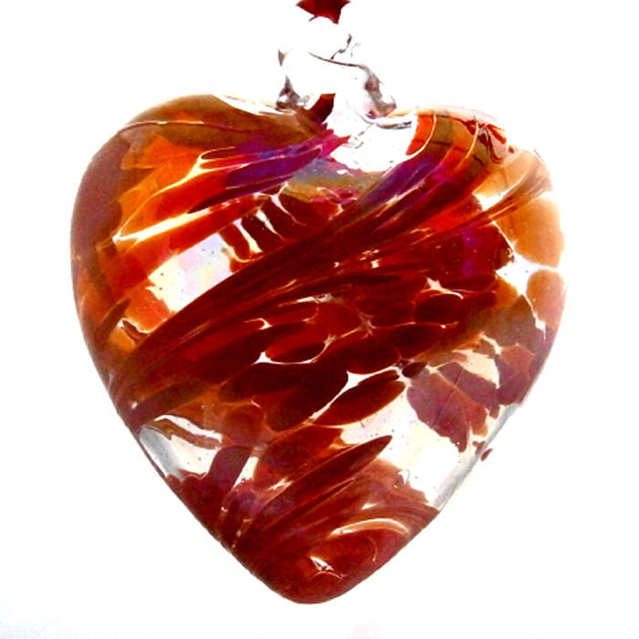 Art Glass Heart - Red - Peach Perfect