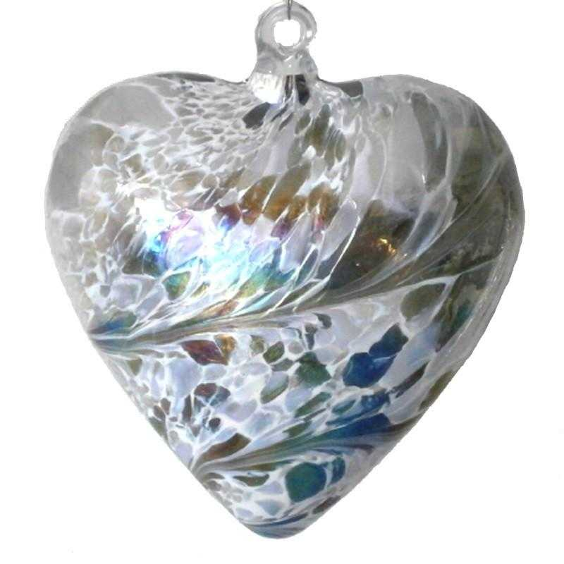 Art Glass Heart - Silver - Peach Perfect