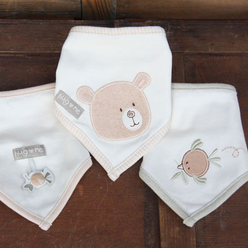 Organic Cotton Bibs - set of 3 - Peach Perfect