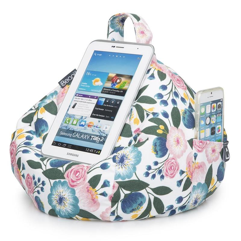 iBeani iPad cushion -floral with phone  - Peach Perfect