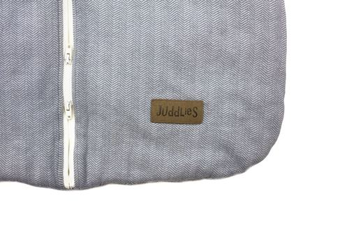 Organic cotton baby sleep sack by Juddlies - logo detail - Peach Perfect