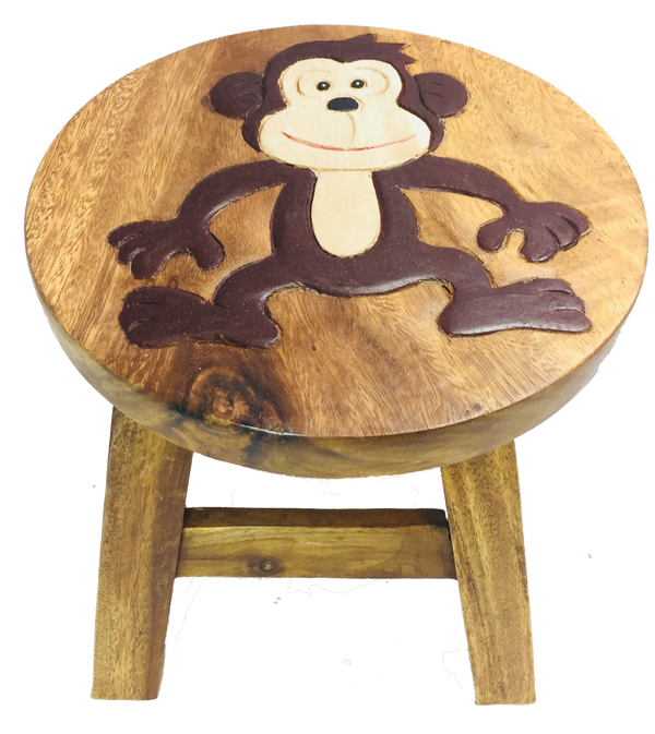 Fair Trade Kids stool decorated with a monkey by Sunlover - Peach Perfect