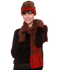 Model wearing alpaca wool beanie hat with matching glove & scarf in brown and organ with a dotty pattern