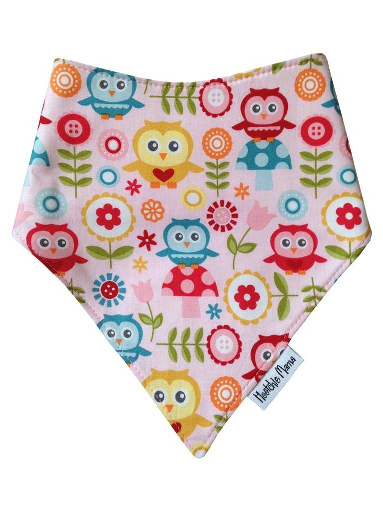 Bandana dribble bib - owls & toadstools - Peach Perfect