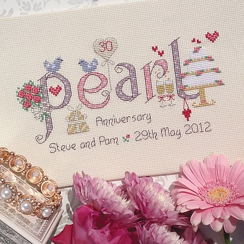 Pearl anniversary sampler cross stitch kit by Nia - Peach Perfect