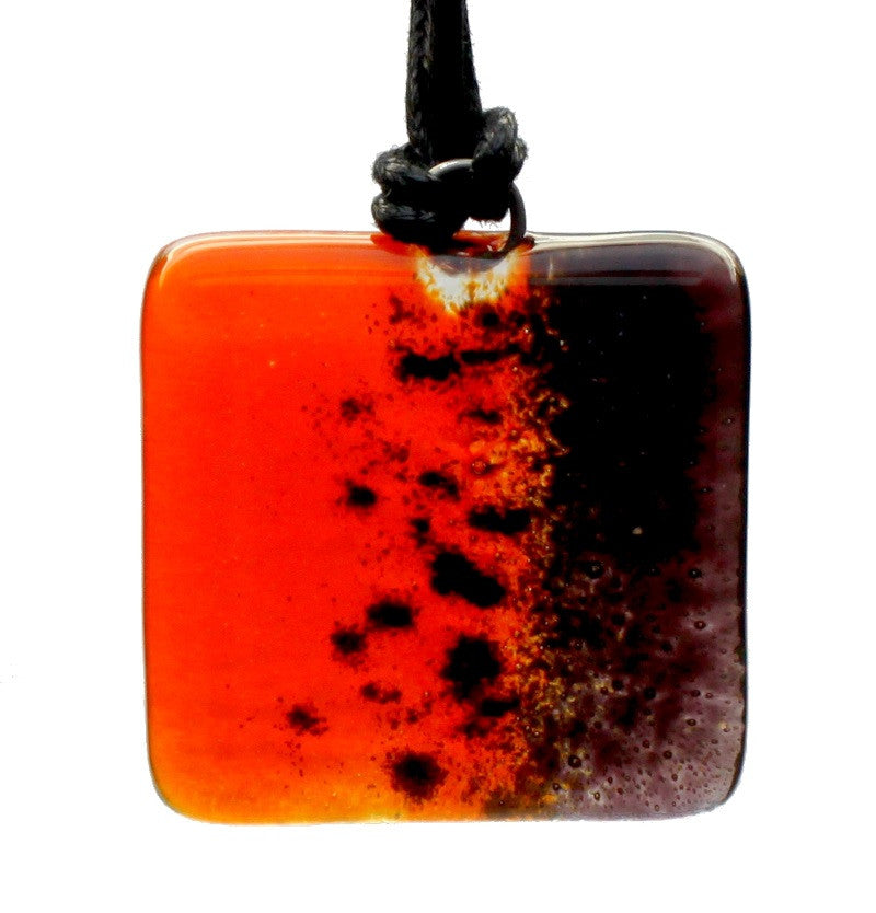 Handcrafted Fused Glass pendants - orange/square - Peach Perfect