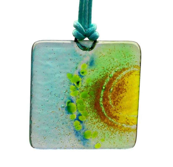Handcrafted Fused Glass pendants - turquoise/square - Peach Perfect