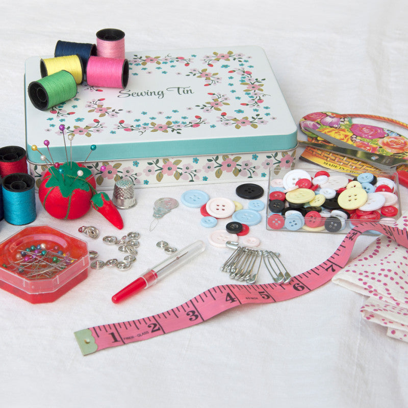 Rose Hip deluxe sewing tin by Rex London - contents - Peach Perfect