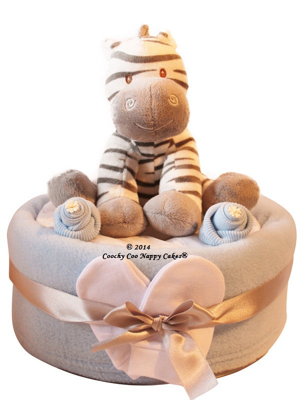 Zebra Nappy Cake with blue - Peach Perfect