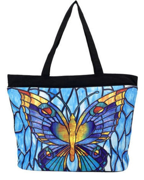 Stained Glass Butterfly Tote Bag - Peach Perfect
