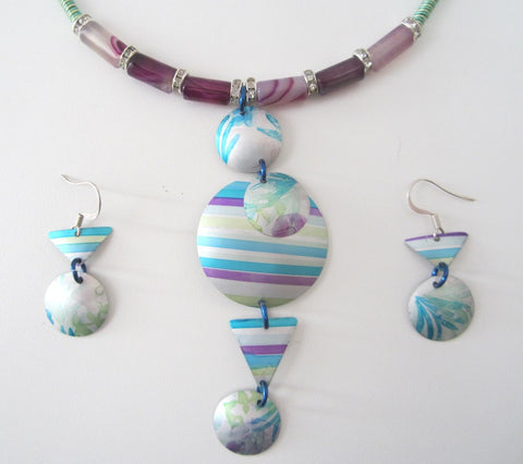 Aluminium Necklace & Earrings by Cherry Green - Peach Perfect - 1
