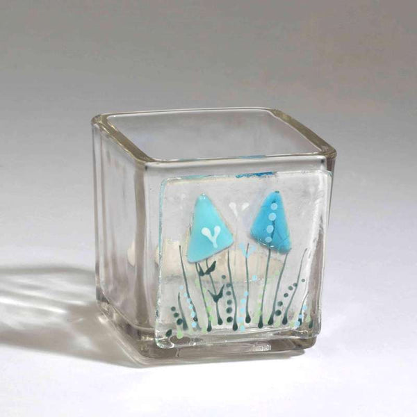 Handmade fused glass tea light candle holders