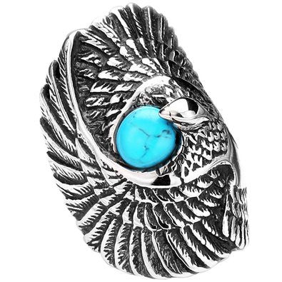 Stainless Steel Eagle With Turquoise Ring