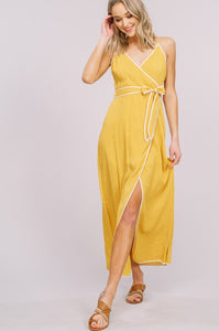 Contrast Binding Wrap Maxi Dress