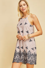 Striped & Embroidered Shift Dress
