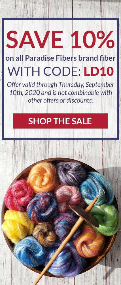 Save 10% on all Paradise Fibers brand fibers with code: LD10. Offer valid through Thursday, September 10th, 2020 and is not combinable with other offers with other offers or discounts. Click to shop the sale.