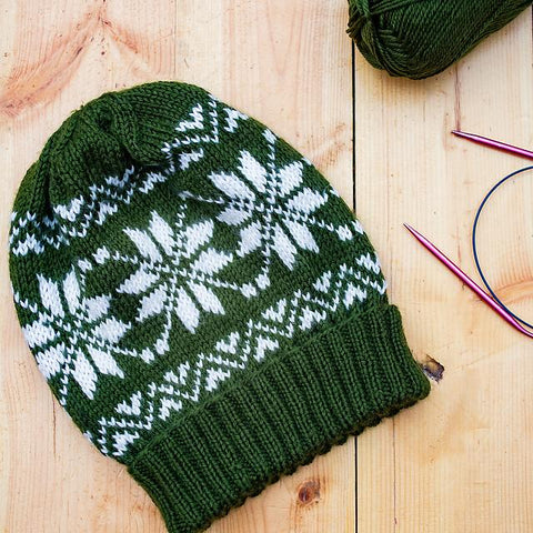 snowflakes slouchy beanie by julie paz