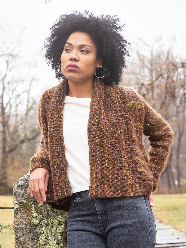 The Spencer cardigan knit with Berroco Sesame Chestnut 7457 and Berroco Aerial Copper 3433