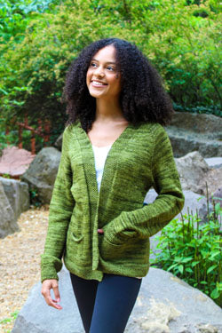 3389 Open Front Cardigan shown in the color Pine.