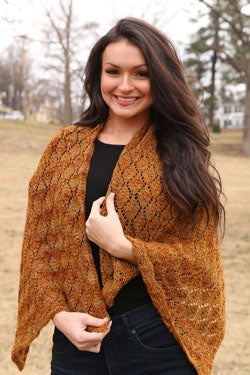 The 3390 Harvest Shawl in the color Sienna