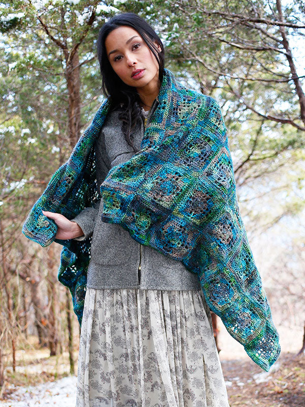 The Dayflower throw knit out of Berroco Millefiori
