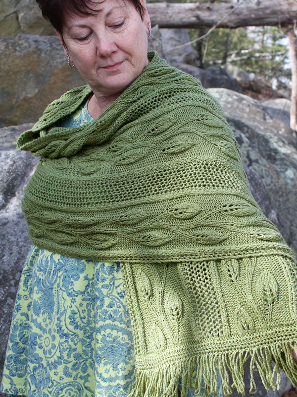 The Finally Spring Scarf knit out of Berroco Summer Silk DK in the color Picnic.