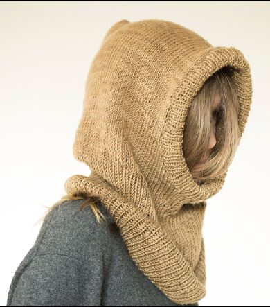A warm, cozy, wool Hooded Cowl by Urth Yarns knit out of Harvest Worsted.