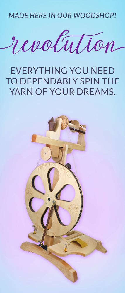 The Revolution Spinning Wheel. Everything you need to dependably spin the yarn of your dreams. Click to get the complete package.