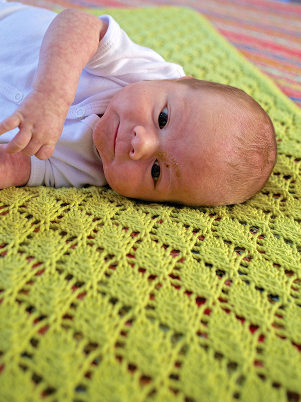The Saurey botanical lace baby blanket in the color Elms 1659