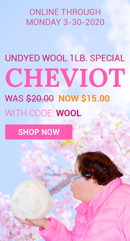 Save 25% on our undyed Cheviot 1lb. special with the code: WOOL. Click this image to shop & save.