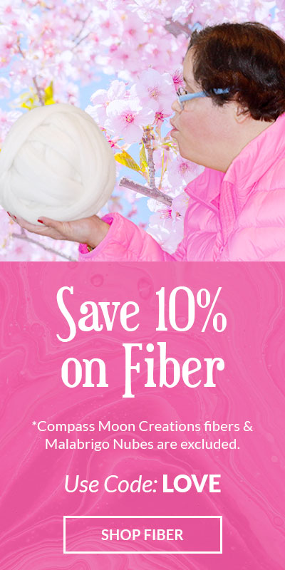 Save 10% on fiber with code LOVE, Click to shop. Compass Moon Creations and Malabrigo Fiber are excluded from this sale. Offer ends on February 14th at midnight PST.