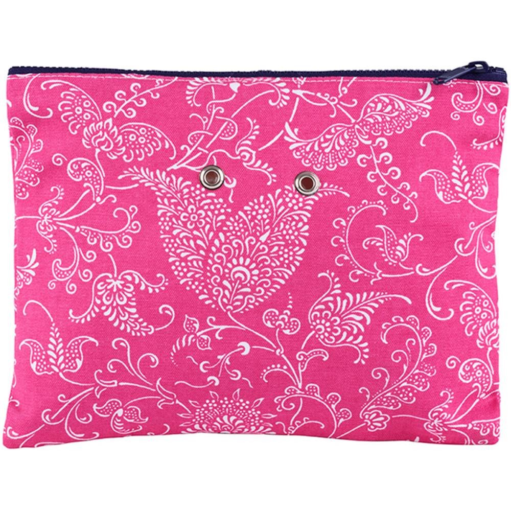 "Yarn POP Knitting Bags Double 11""X8.5"" / Pink Paisley - 18"