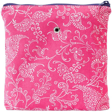 "Yarn POP Knitting Bags Gadgety 9""X9"" / Pink Paisley - 9"