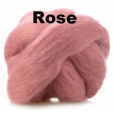Paradise Fibers Fiber Ashford Solid Colored Corriedale Sliver (4oz bag) Rose 11 / 4oz - 12