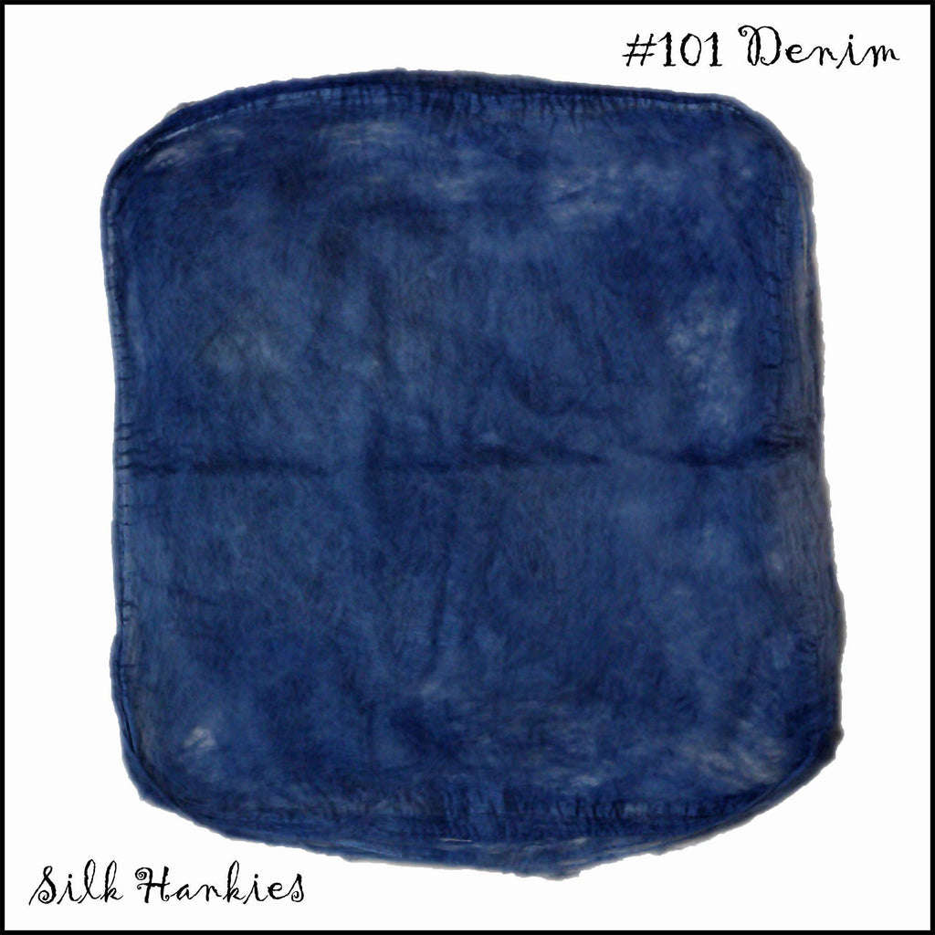 Frabjous Fibers Hand Dyed Silk Hankies Denim 101 - 3
