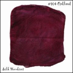 Frabjous Fibers Hand Dyed Silk Hankies Oxblood 104 - 6