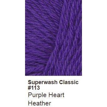 Ella Rae Superwash Classic Yarn - Heathers Purple Heart Heather 113 - 15