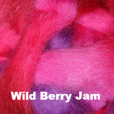 Louet Northern Lights Space Dyed Wool Tops (1/2 lb bags) Wild Berry Jam - 6