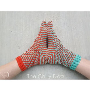 1 Sock, 2 Sock, Red Sock, Blue Sock Pattern by The Chilly Dog-Patterns-Paradise Fibers