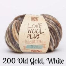 Katia Love Wool Plus Yarn 200 Old Gold, White - 2
