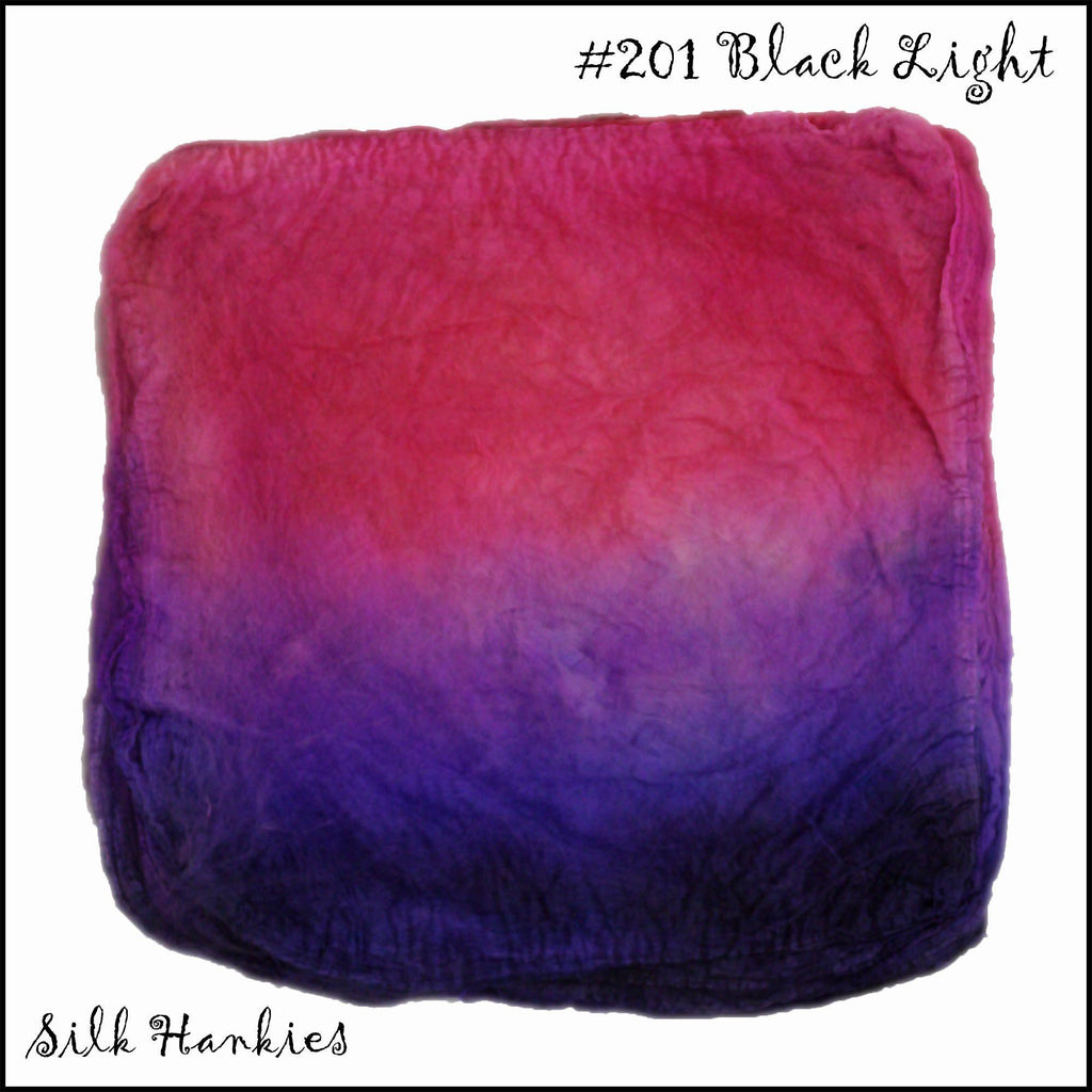 Frabjous Fibers Hand Dyed Silk Hankies Black Light 201 - 11